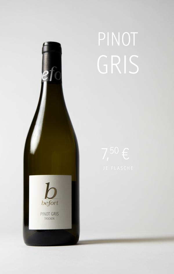 Pinot Gris trocken 2020; 7,50 € je Flasche