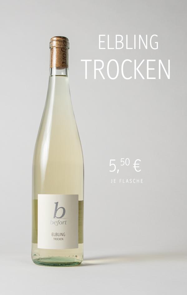 Elbling Trocken 2019; 5,50€ je Flasche