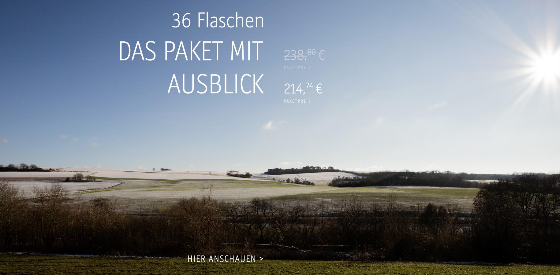 Das Paket mit Ausblick, 214,74€ für 36 Fl. (inkl. Versandkosten)