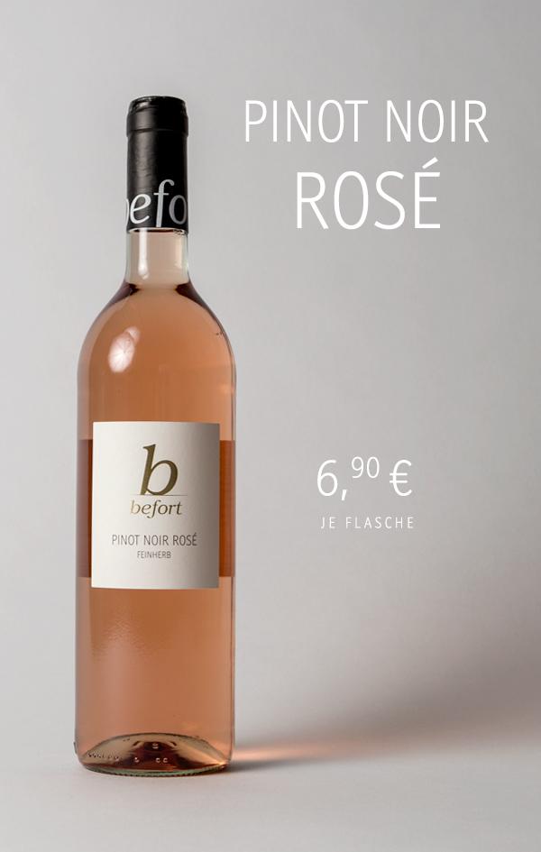 Pinot Noir Rosé feinherb 2020; 6,90 € je Flasche