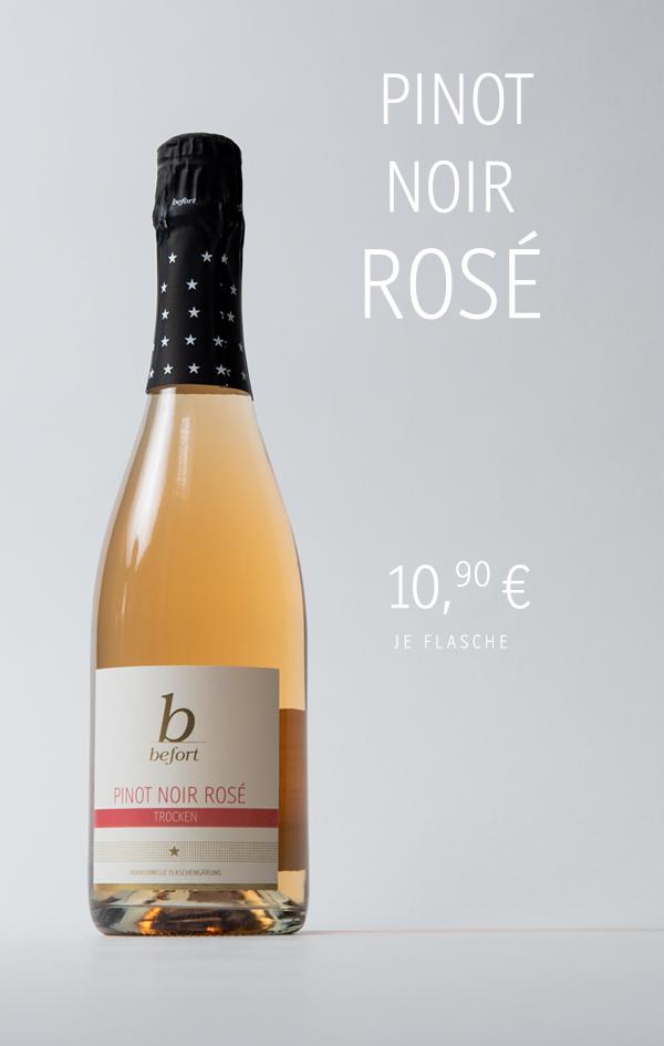 Pinot Noir Rosé Sekt trocken; 10,90 € je Flasche